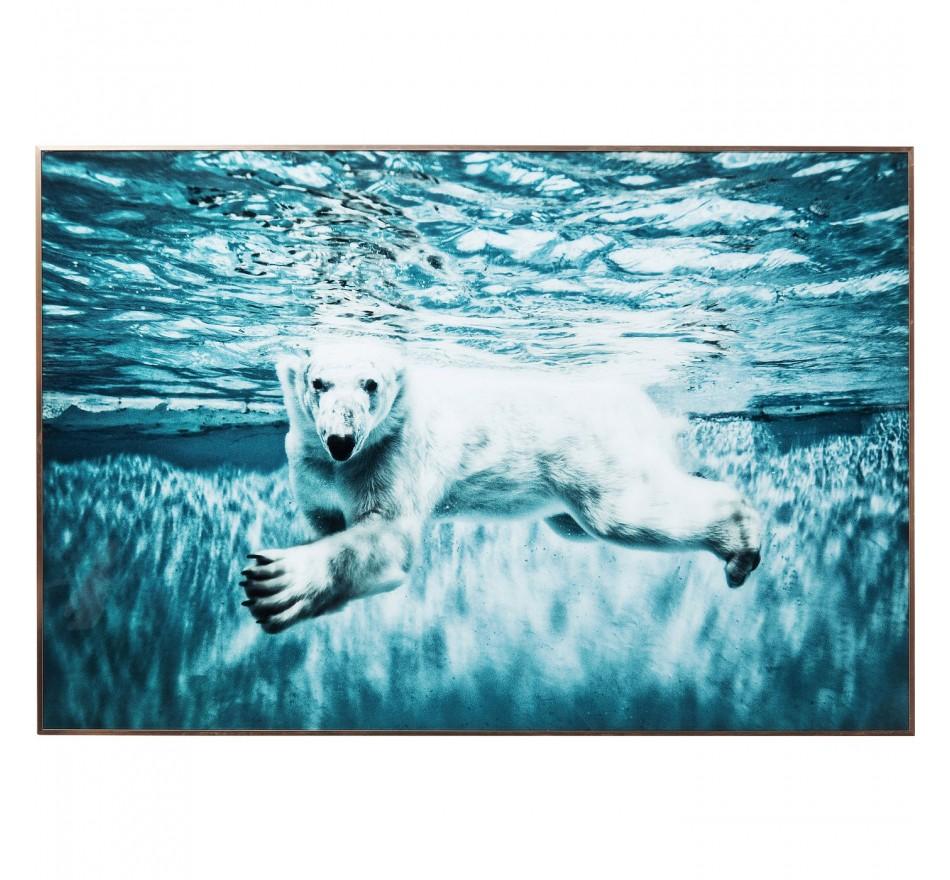 Tableau Frame Swimming Polar Bear 80x120cm Kare Design