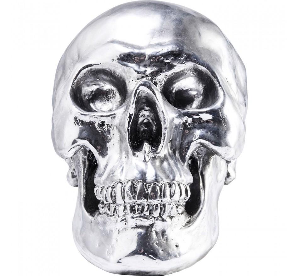 Déco Skull crâne argenté 28cm Kare Design