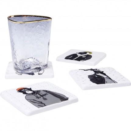 Sous-verres animaux Gangster set de 4 Kare Design