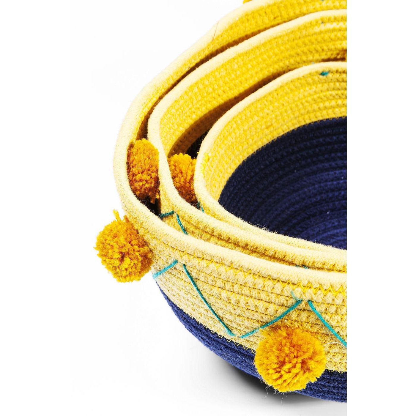 Paniers Pompons bleus et jaunes set de 3 Kare Design