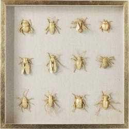 Tableau 3D insectes dorés 60x60cm Kare Design