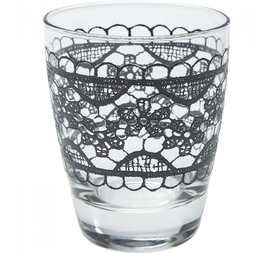 Verres à eau Lace noirs set de 4 Kare Design