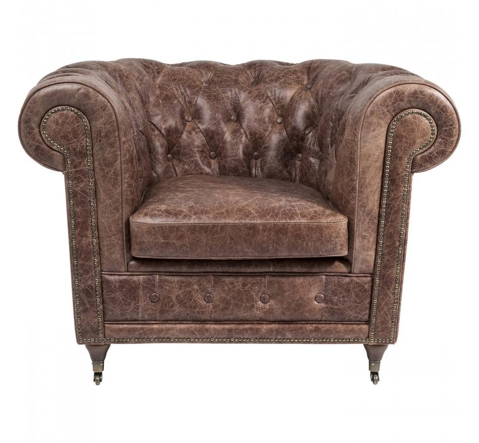 Fauteuil chesterfield vintage en cuir marron - oxford - Kare Design 4e4583a31645