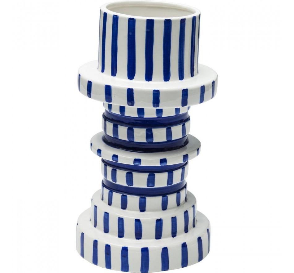 Vase Gear bleu & blanc 30cm Kare Design