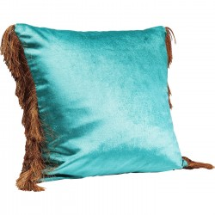 Coussin Fringes turquoise 45x45cm Kare Design