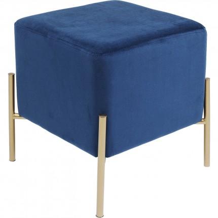 Tabouret Franzi bleu et doré 37x37cm Kare Design