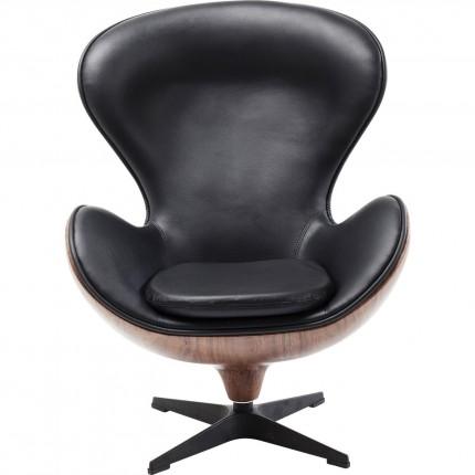 Fauteuil pivotant Lounge noyer Kare Design