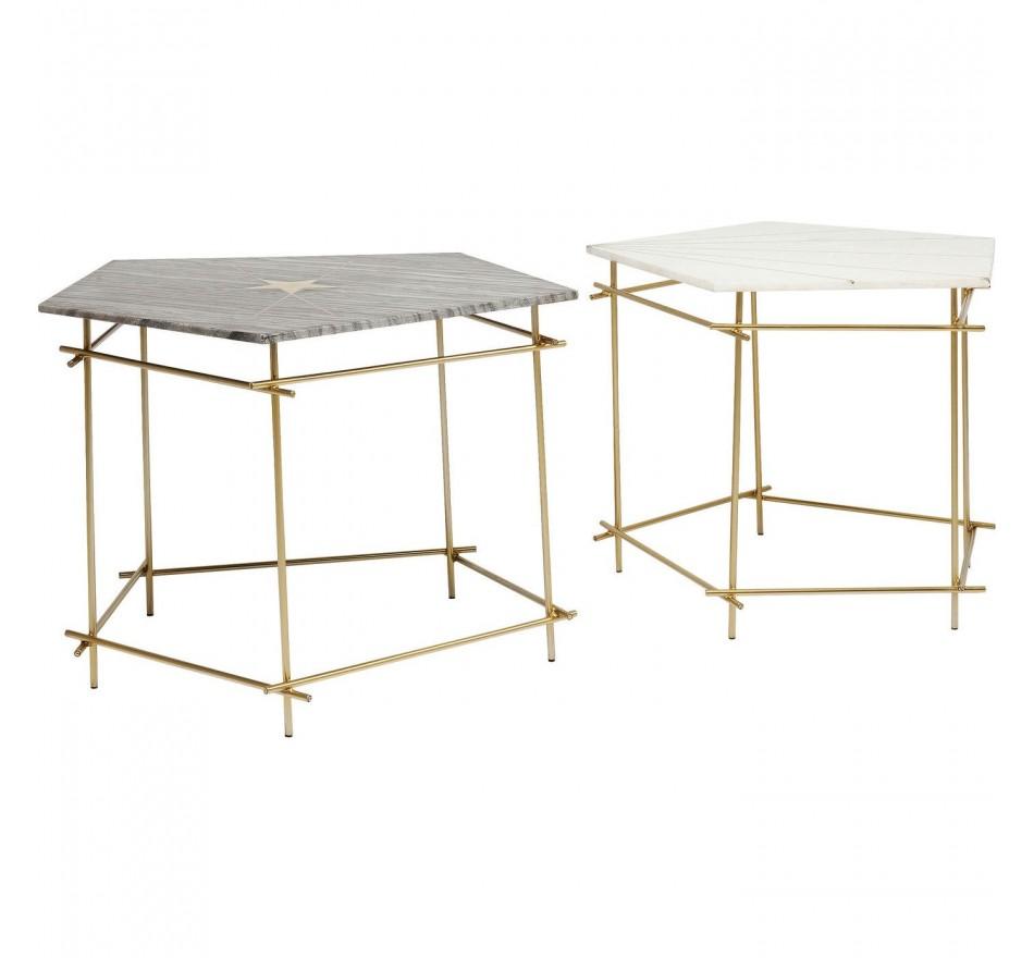 Tables d'appoint Mystic pentagon 60 et 66 cm set de 2 Kare Design