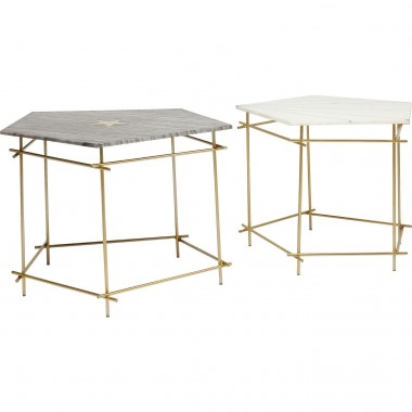 Tables d'appoint Mystic pentagon 60 et 66 cm set de 2 Kare Design