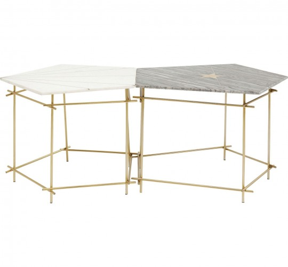 Tables d'appoint Mystic pentagon 38 et 46 cm set de 2 Kare Design