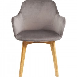 Chaise avec accoudoirs Lady velours gris Kare Design