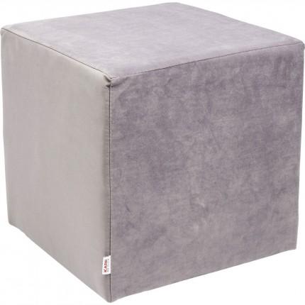 Tabouret 41x41cm velours gris argenté Kare Design