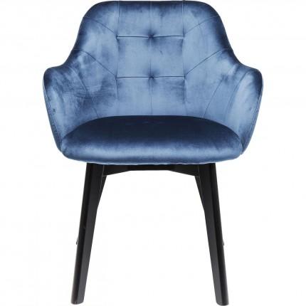 Chaise avec accoudoirs Lady bleu pétrole pieds noirs Kare Design