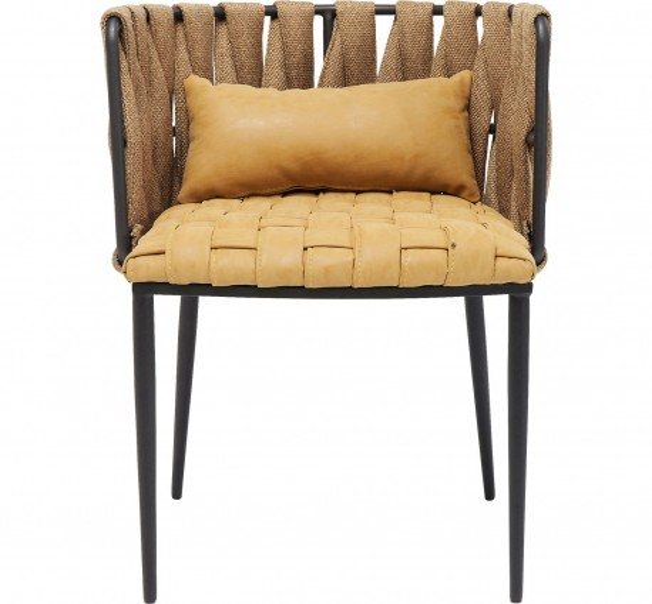 Chaise Cheerio jaune avec coussin Kare Design
