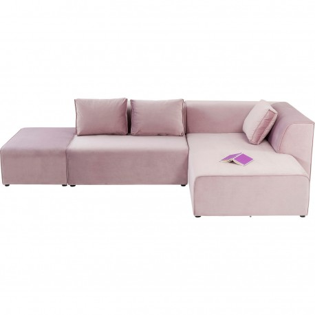 Canapé d'angle Infinity velours rose droite Kare Design