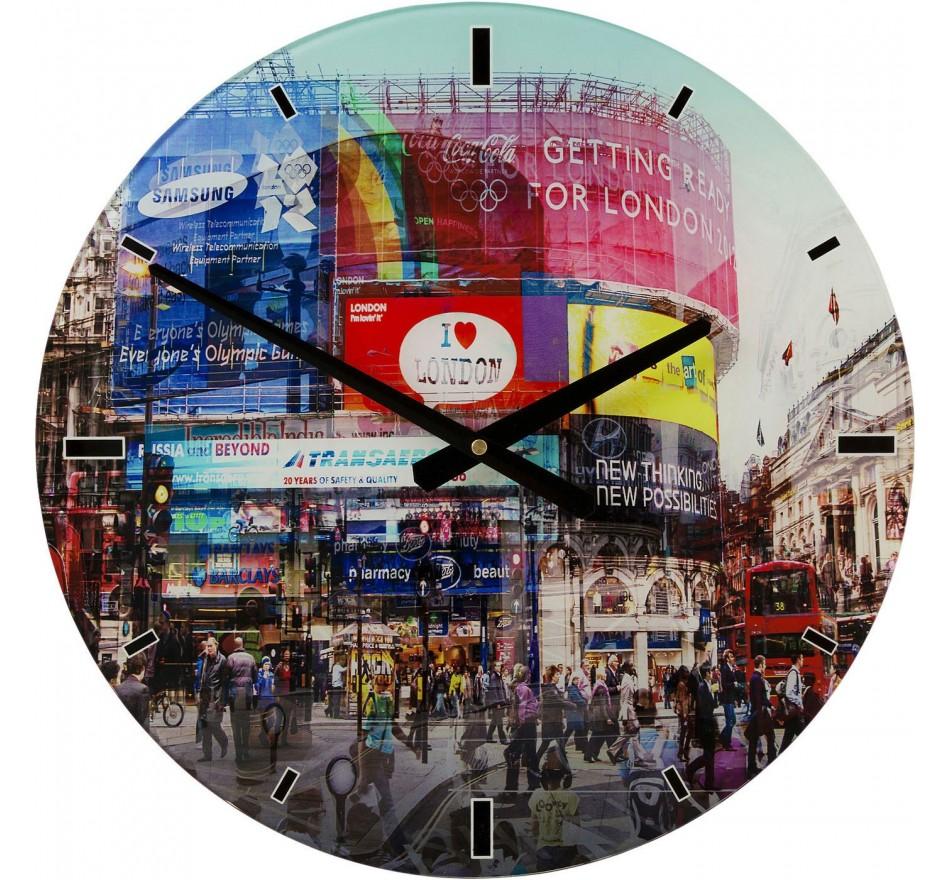 Horloge murale en verre Piccadilly Circus 40cm Kare Design