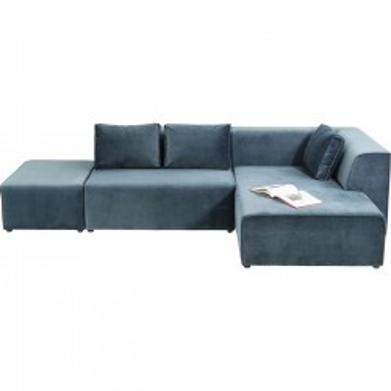 Canapé d'angle Infinity droite velours océan Kare Design