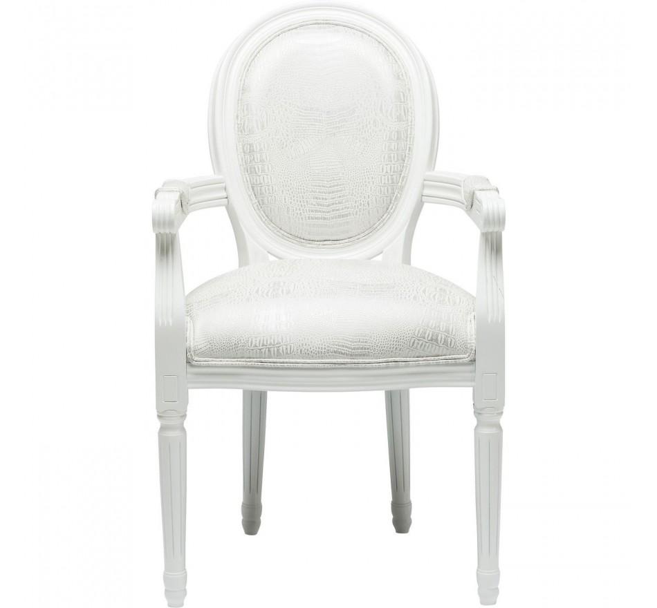 Chaise Avec Accoudoirs Gastro Louis Croco Blanc Kare Design