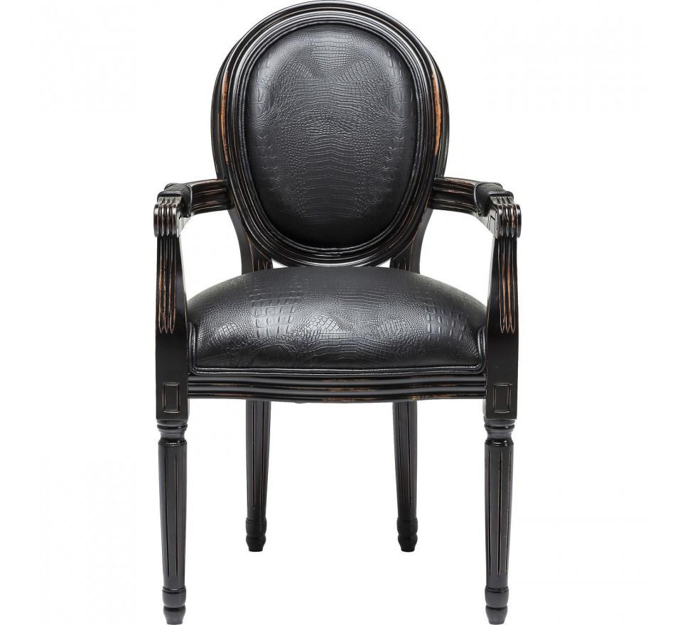 Chaise Avec Accoudoirs Louis Croco Noir Kare Design