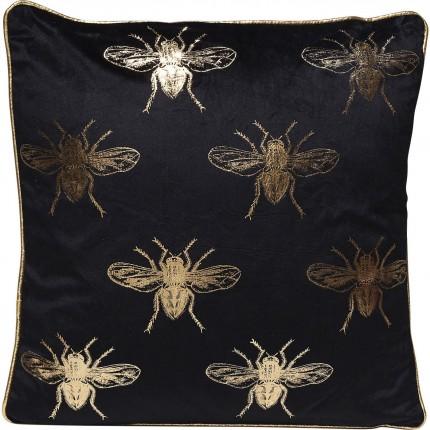 Coussin noir abeilles 45x45cm Kare Design