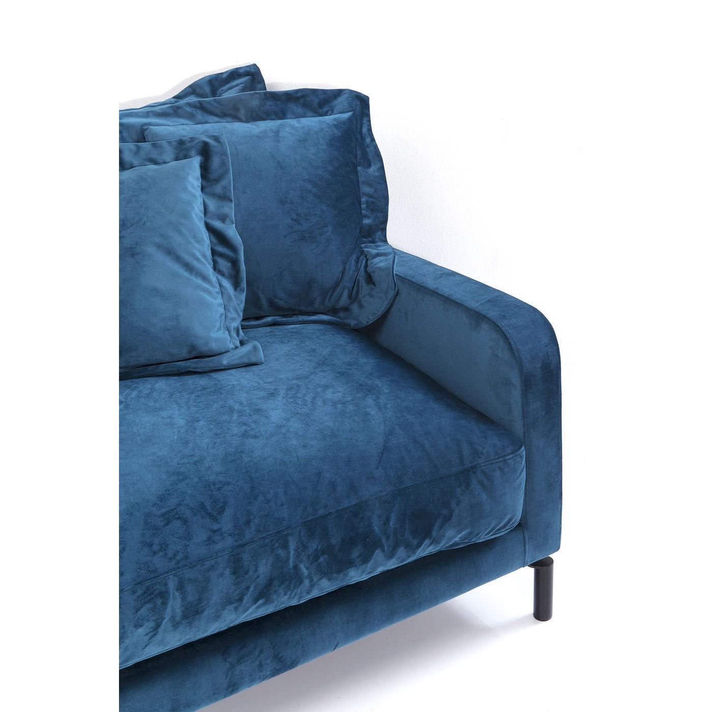 Canapé Lullaby 3 places velours bleu pétrole Kare Design
