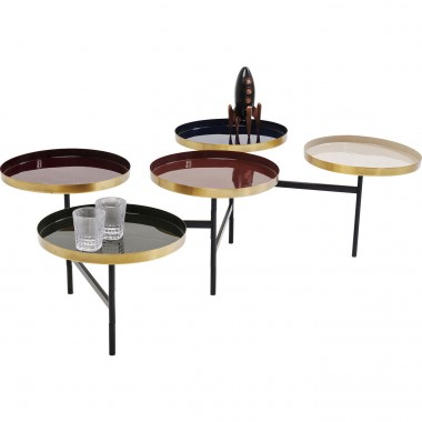Table basse Curve multicolore laiton Kare Design