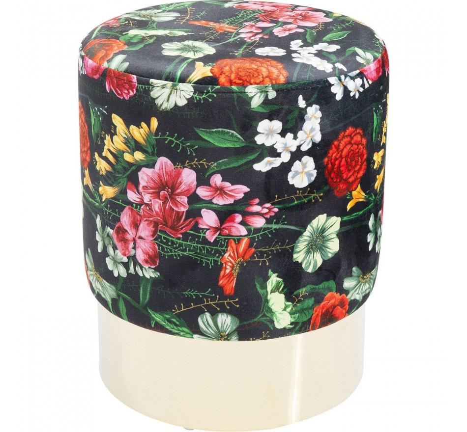 Tabouret Cherry Fleurs sauvages laiton 35cm Kare Design