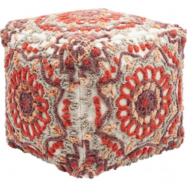 Pouf Arabian Flower Reddish Kare Design
