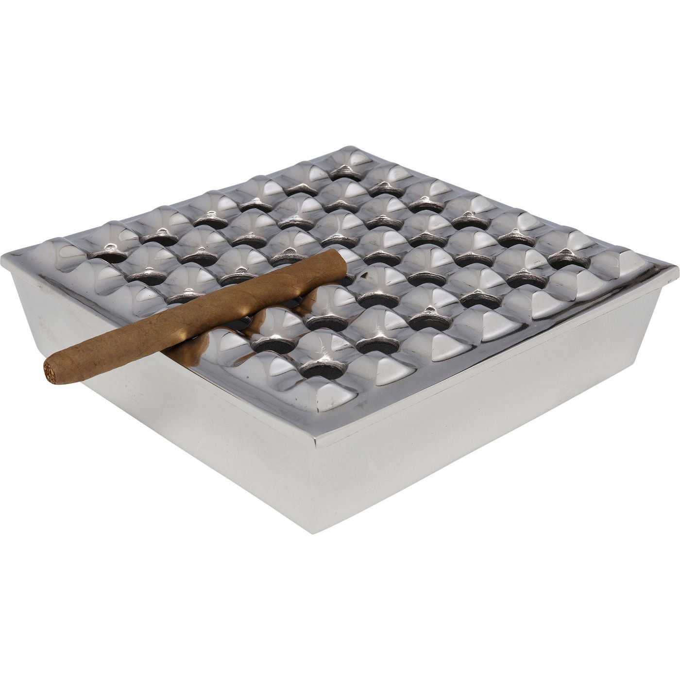 Cendrier Soho carré argenté 25x25cm Kare Design