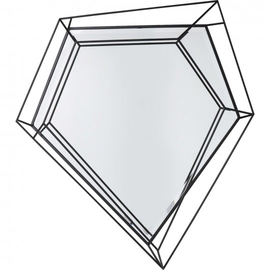 Miroir Wire Diamond noir 104x92cm Kare Design