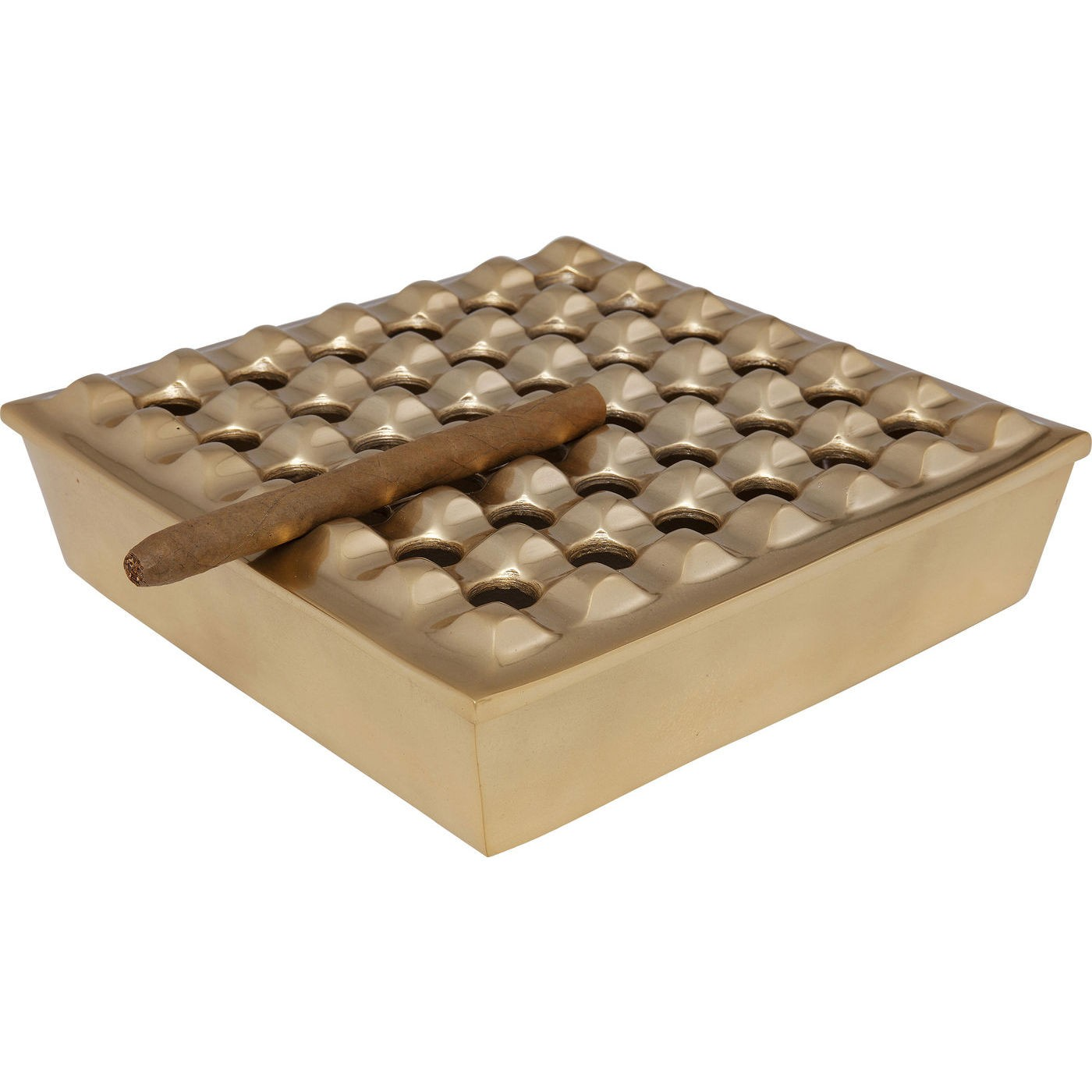 Cendrier Soho carré laiton 25x25cm Kare Design