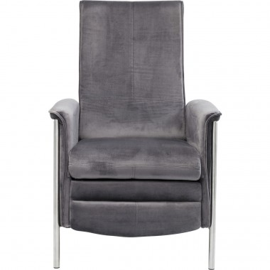 Fauteuil relax Lazy velours gris Kare Design