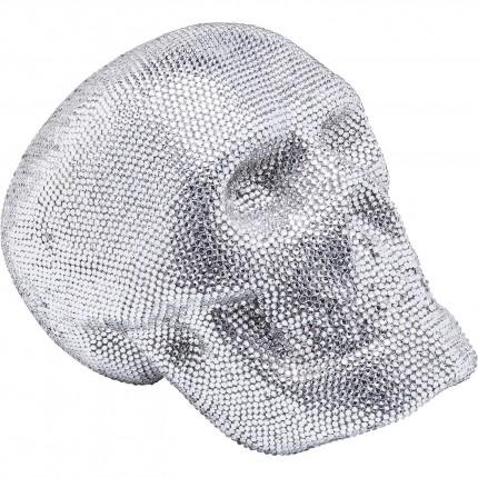 Déco Crâne strass argenté 25cm Kare Design