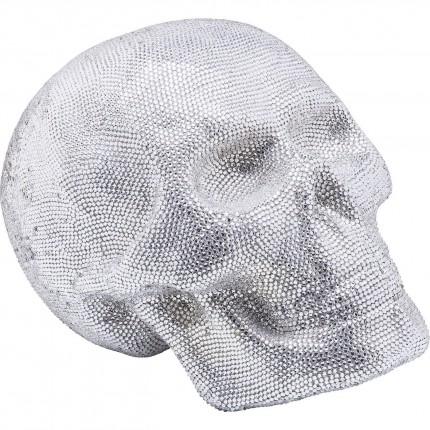 Déco Crâne strass argenté 35cm Kare Design