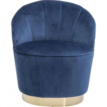 Fauteuil Cherry bleu pétrole et laiton Kare Design