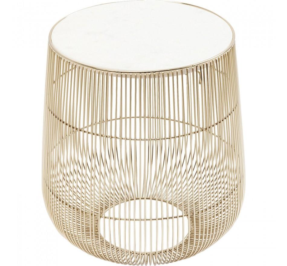 Table d'appoint Beam dorée marbre blanc 32cm Kare Design