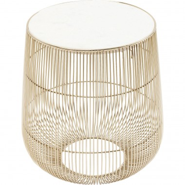 Table d'appoint Beam dorée marbre blanc 32cm Kare Design