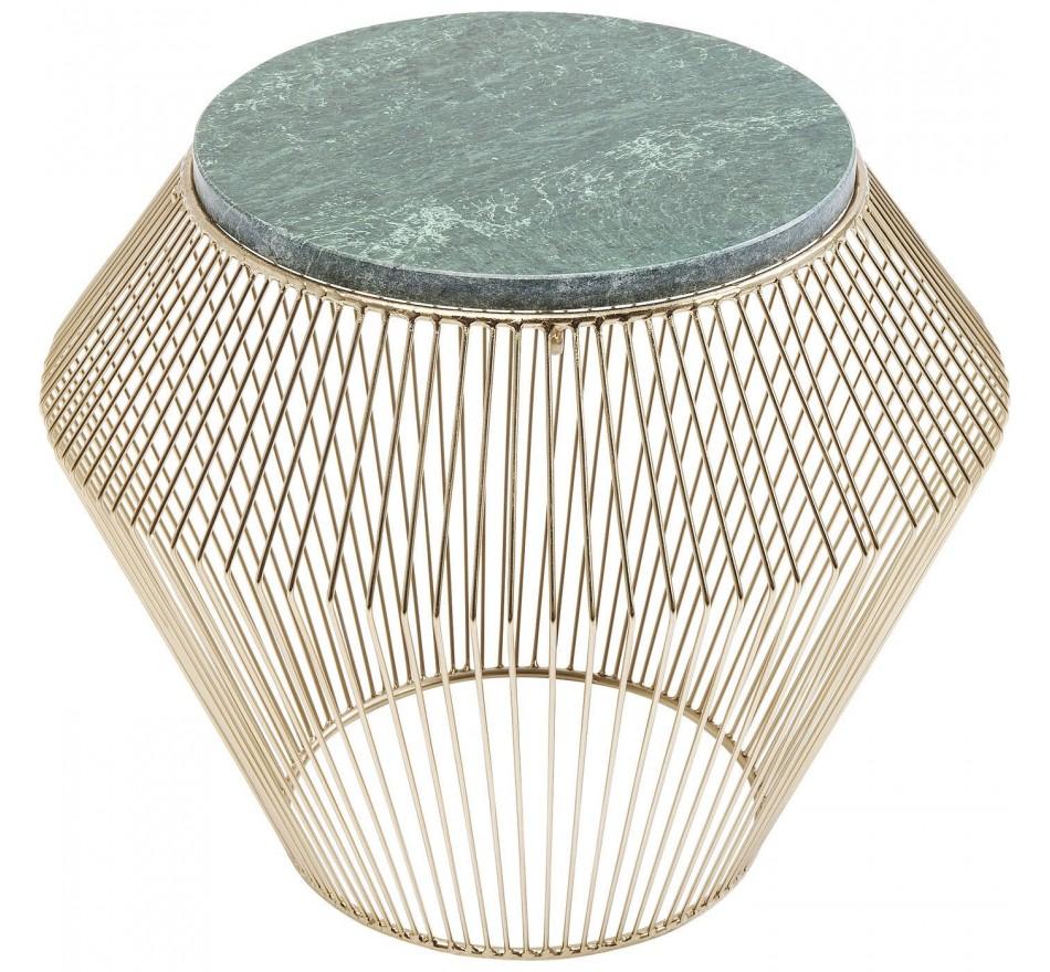Table d'appoint Beam dorée marbre vert 40cm Kare Design