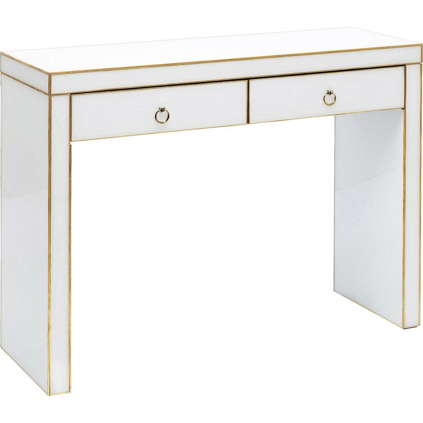 Bureau blanc Gracioso 2 tiroirs 106x35cm Kare Design