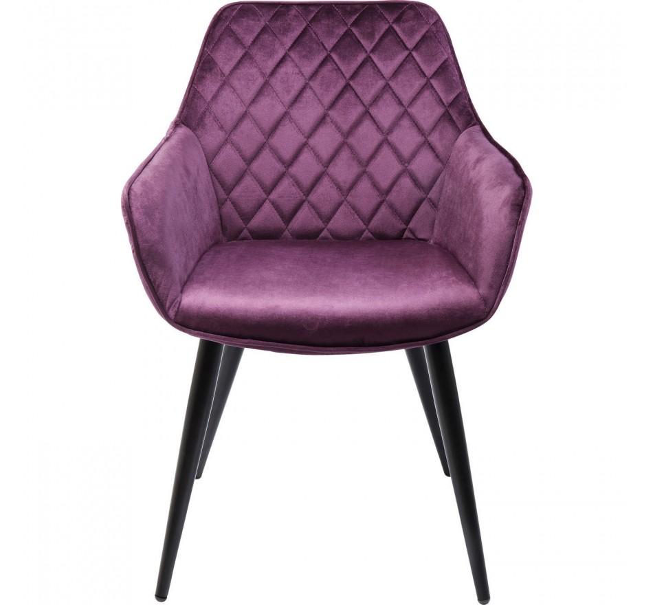 Chaise avec accoudoirs Harry velours violet Kare Design
