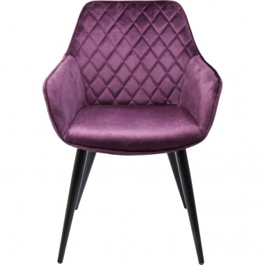 Chaise Avec Accoudoirs Harry Velours Violet Kare Design
