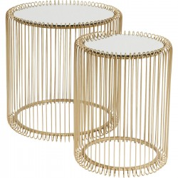 Tables d'appoint Wire laiton set de 2 Kare Design