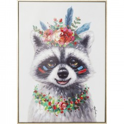 Tableau Touched Flowers Raccoon 72x52cm Kare Design