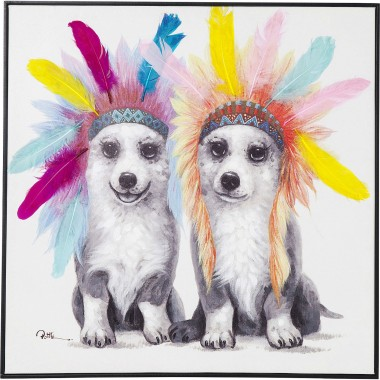 Tableau Touched chiens plumes 70x70cm Kare Design