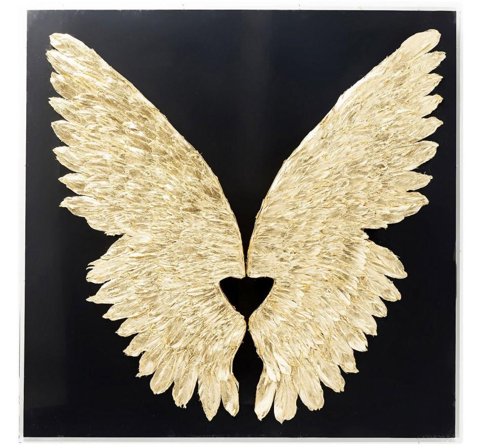 Tableau 3D ailes noires et dorées 120x120cm Kare Design