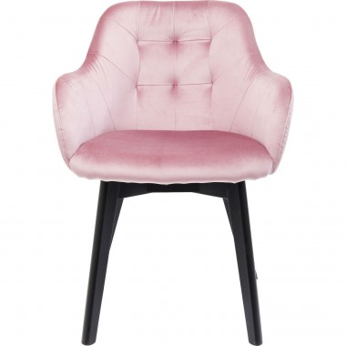 Chaise avec accoudoirs Lady rose pieds noirs Kare Design
