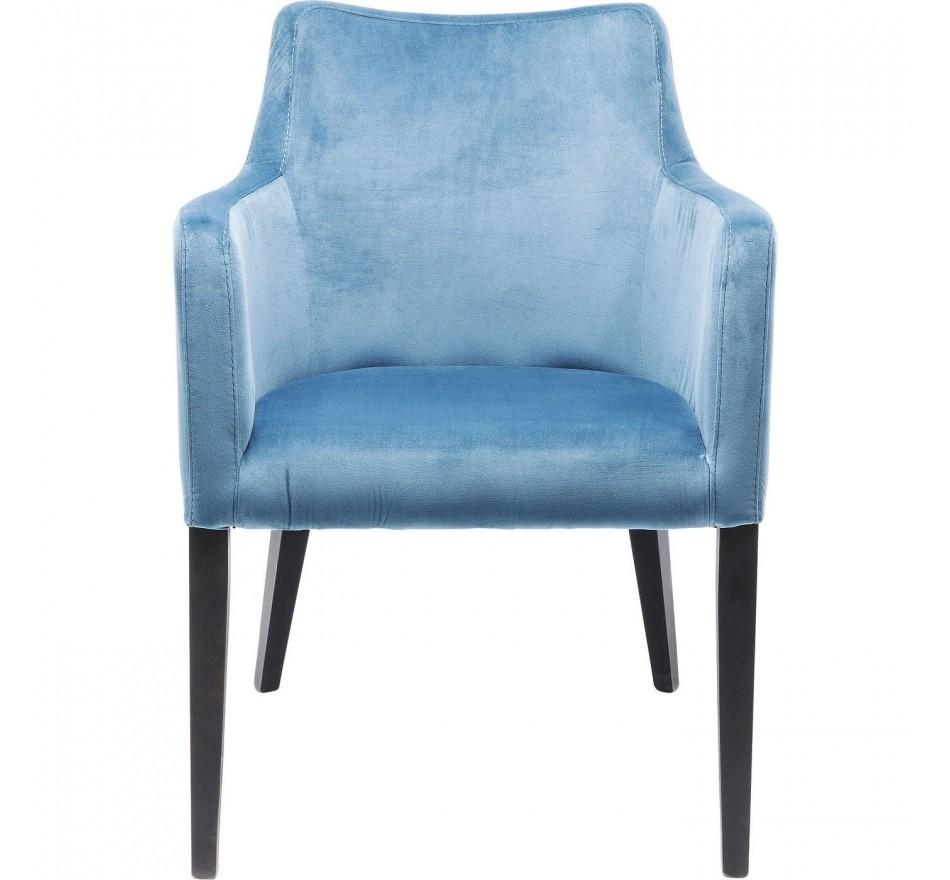 Chaise avec accoudoirs Mode pieds noirs velours bleu pétrole Kare Design