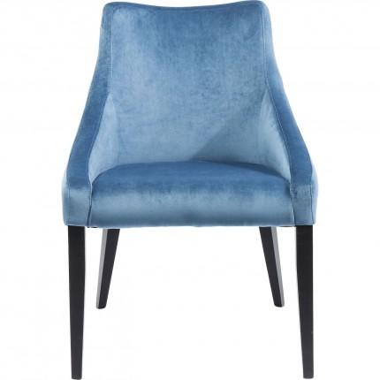 Chaise Mode pieds noirs velours bleu pétrole Kare Design