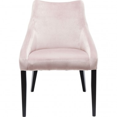 Chaise Mode pieds noirs velours rose Kare Design
