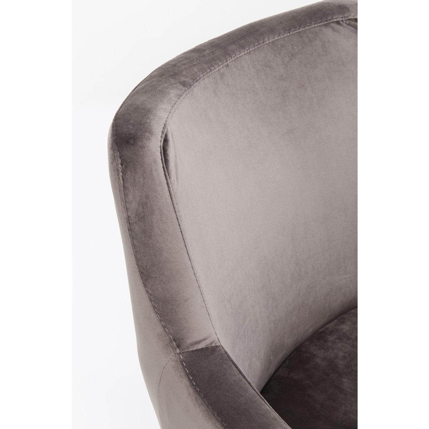 Chaise avec accoudoirs Mode pieds noirs velours gris Kare Design
